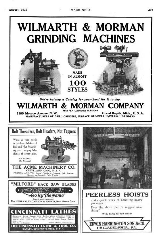 Machinery Magazine Augest 1919 Featuring    Sloan  U0026 Chace