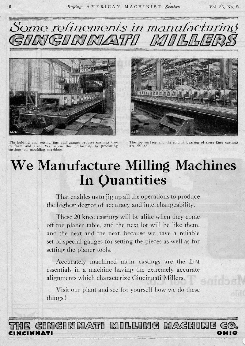 Machinery-Magizine-January-19-1922- Cinninnatti Milling Machine Manufacture